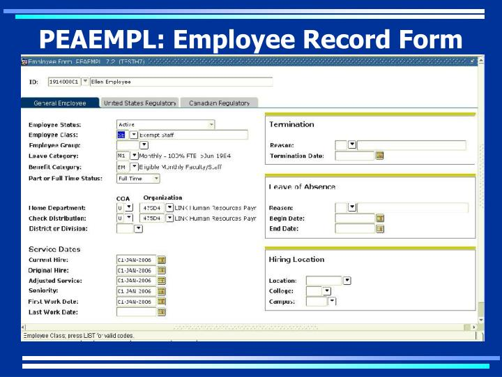 PEAEMPL: Employee Record Form