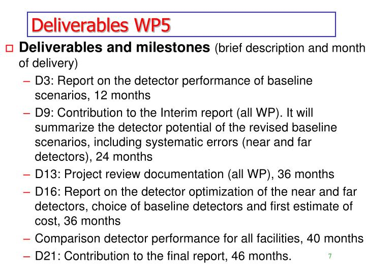 Deliverables WP5