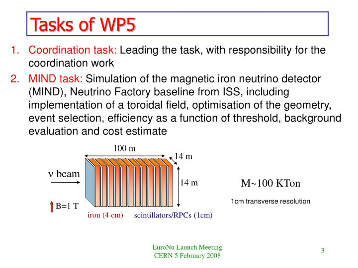 Tasks of wp5