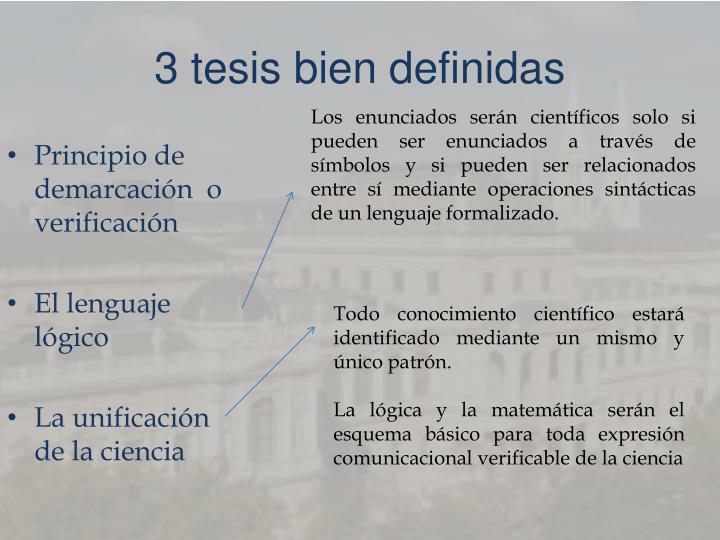 3 tesis bien definidas