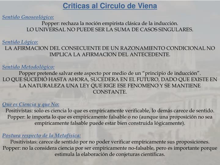 Criticas al Circulo de Viena