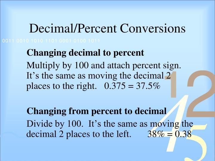 Decimal/Percent Conversions