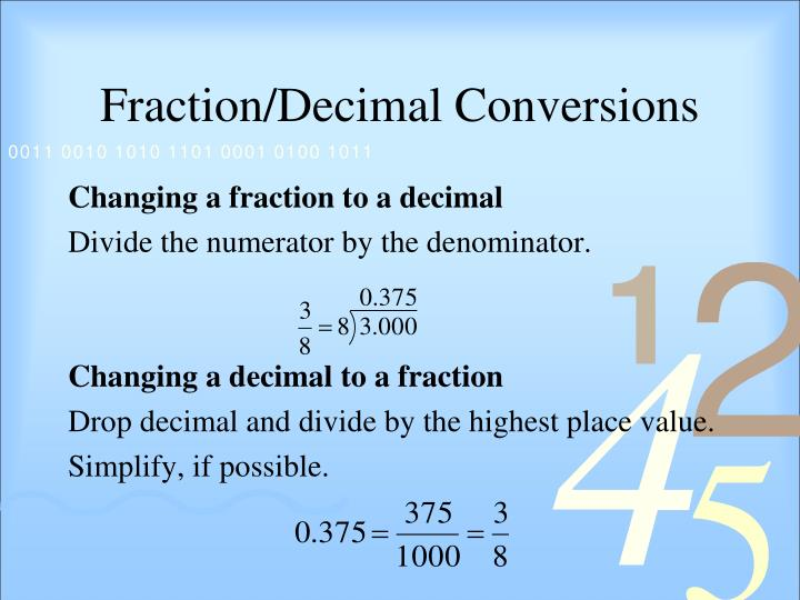 Fraction decimal conversions