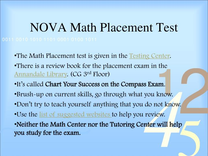 NOVA Math Placement Test