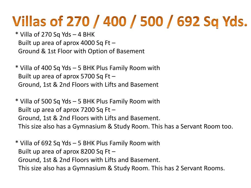 Villas of 270 / 400 / 500 / 692 Sq