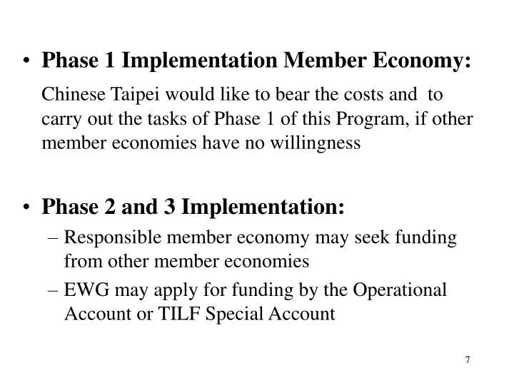 Phase 1 Implementation Member Economy:
