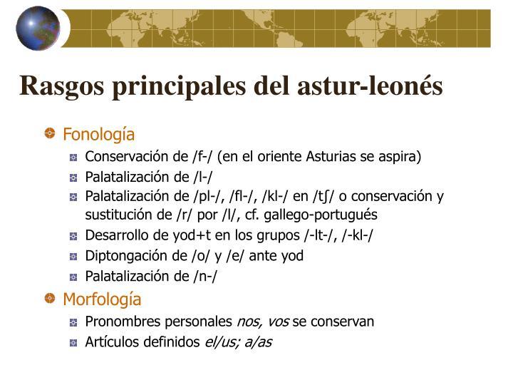 Rasgos principales del astur-leonés