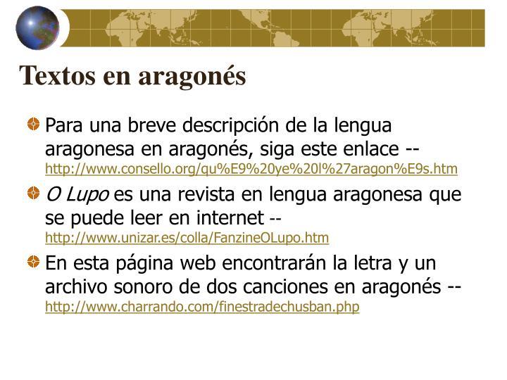 Textos en aragonés