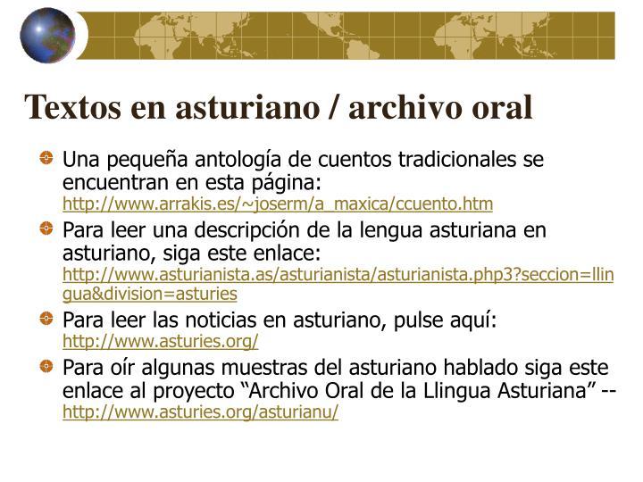 Textos en asturiano / archivo oral