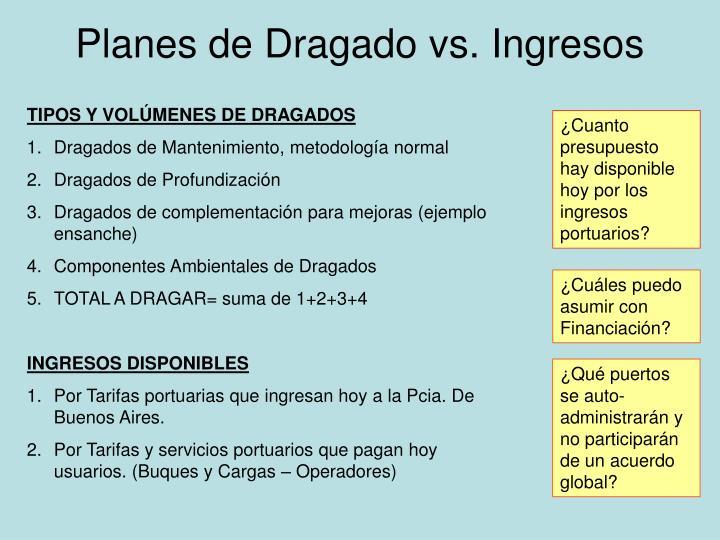 Planes de Dragado vs. Ingresos