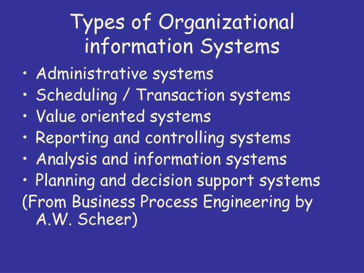 organizational information systems and their functionalities Information systems (is) is the main area which represents, in relation to users, more or less the entire ict area and manages the provided functionalities other company ict elements serve to provide functionality to information systems.