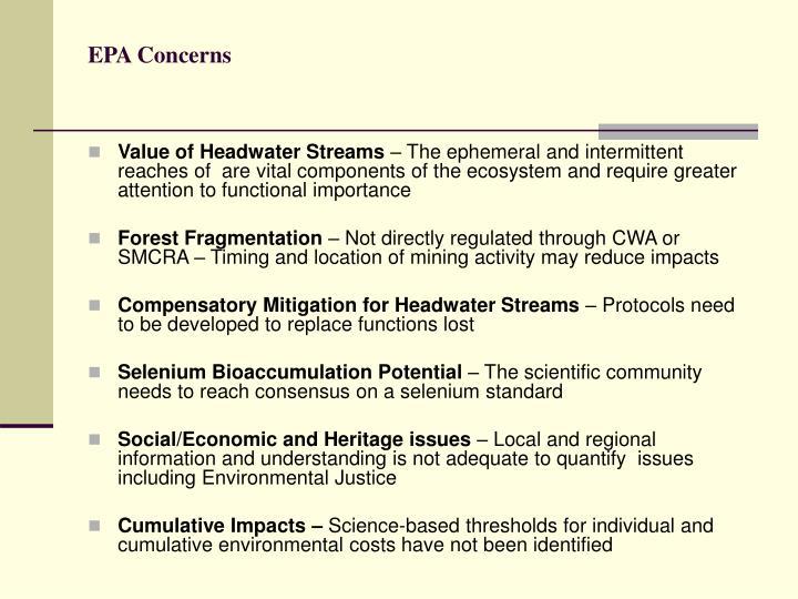 EPA Concerns