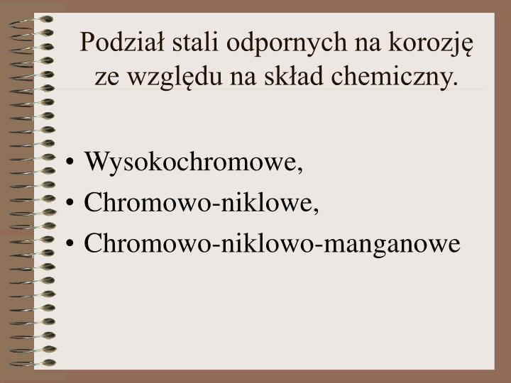 Podział stali odpornych na korozję ze względu na skład chemiczny.