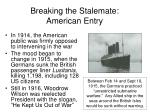 breaking the stalemate american entry