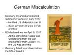 german miscalculation