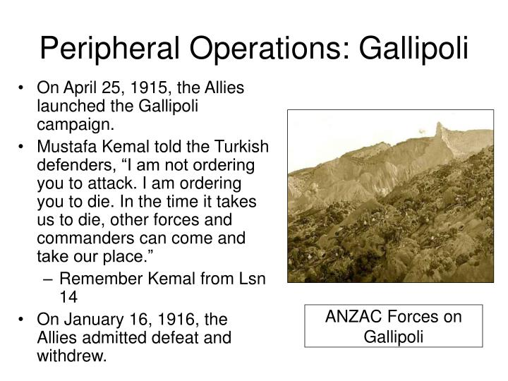 Peripheral Operations: Gallipoli