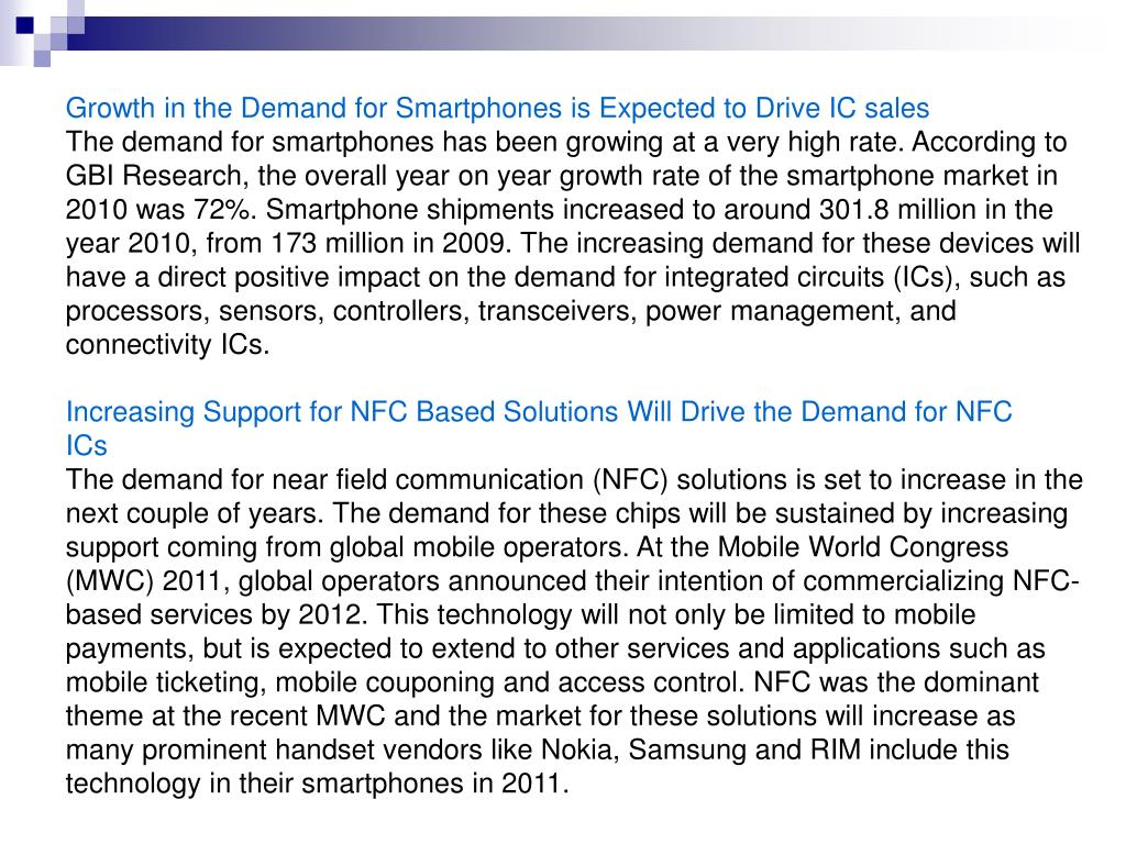 Growth in the Demand for Smartphones is Expected to Drive IC sales