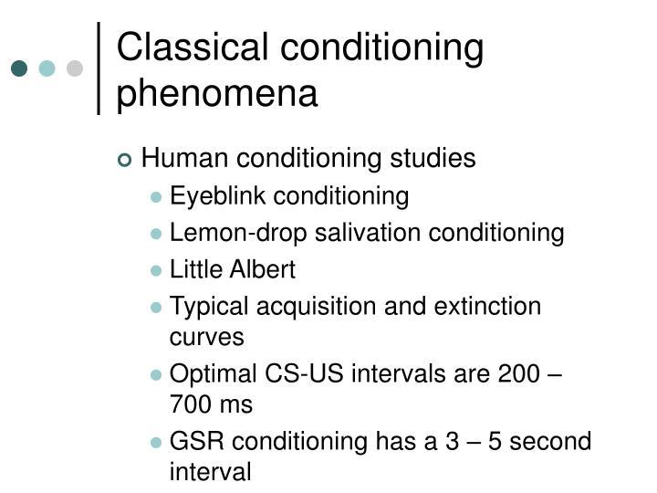 Classical conditioning phenomena