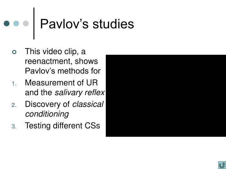 Pavlov's studies