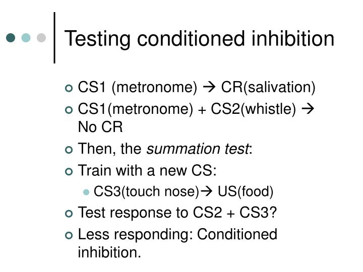 Testing conditioned inhibition