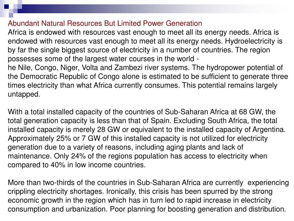 Abundant Natural Resources But Limited Power Generation