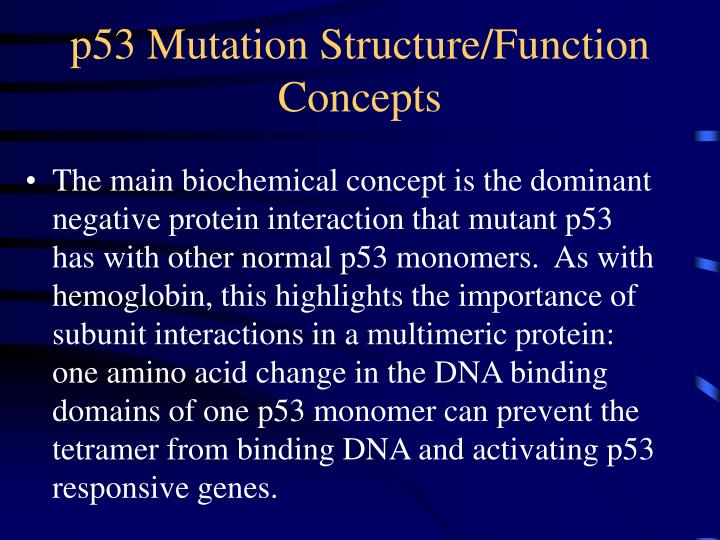 p53 Mutation Structure/Function Concepts