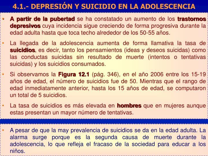 4.1.- DEPRESIÓN Y SUICIDIO EN LA ADOLESCENCIA