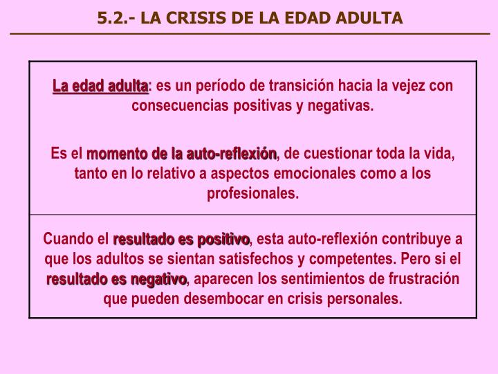 5.2.- LA CRISIS DE LA EDAD ADULTA