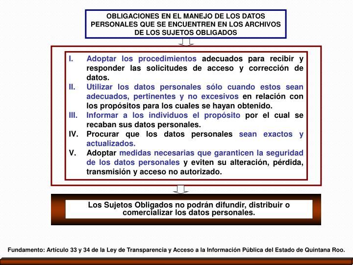 OBLIGACIONES EN EL MANEJO DE LOS DATOS PERSONALES QUE SE ENCUENTREN EN LOS ARCHIVOS DE LOS SUJETOS OBLIGADOS