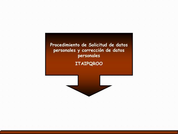 Procedimiento de Solicitud de datos personales y corrección de datos personales