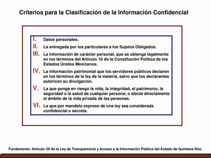 Criterios para la Clasificación de la Información Confidencial