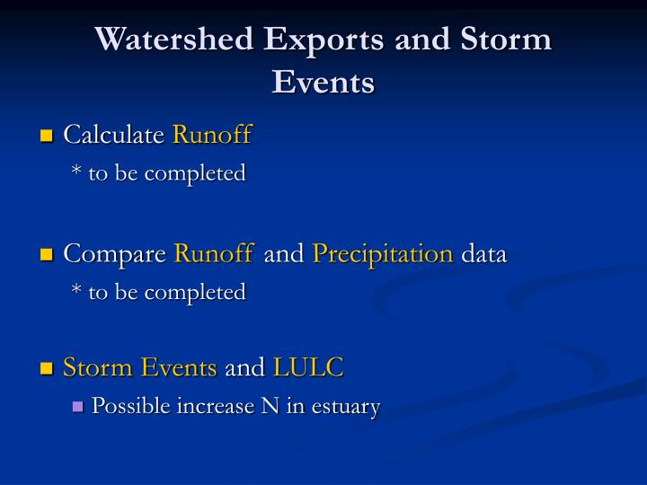 Watershed Exports and Storm Events