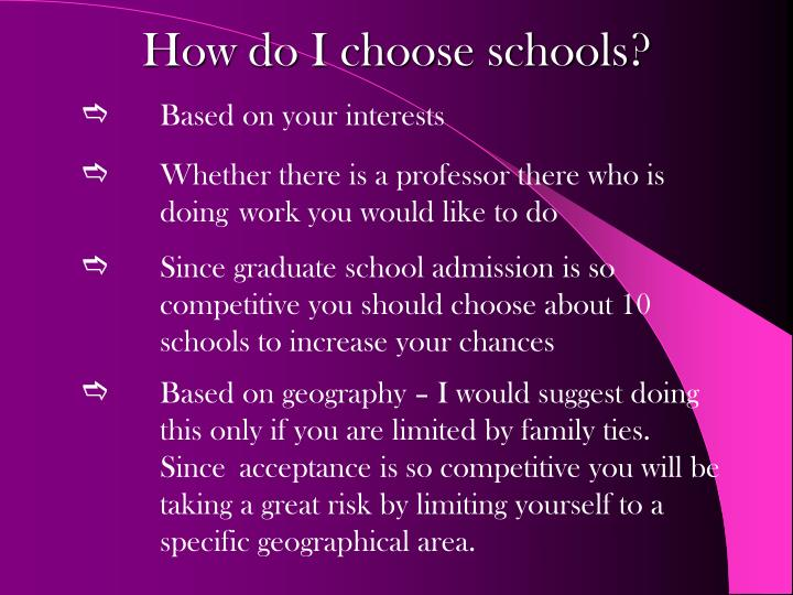 How do I choose schools?