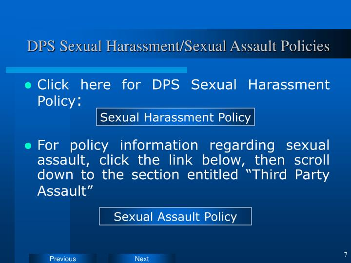 DPS Sexual Harassment/Sexual Assault Policies