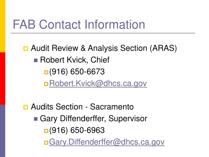 FAB Contact Information