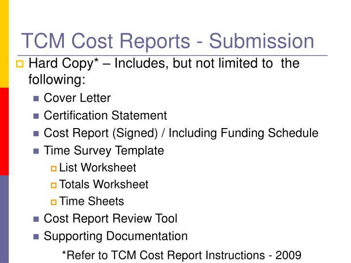 TCM Cost Reports - Submission