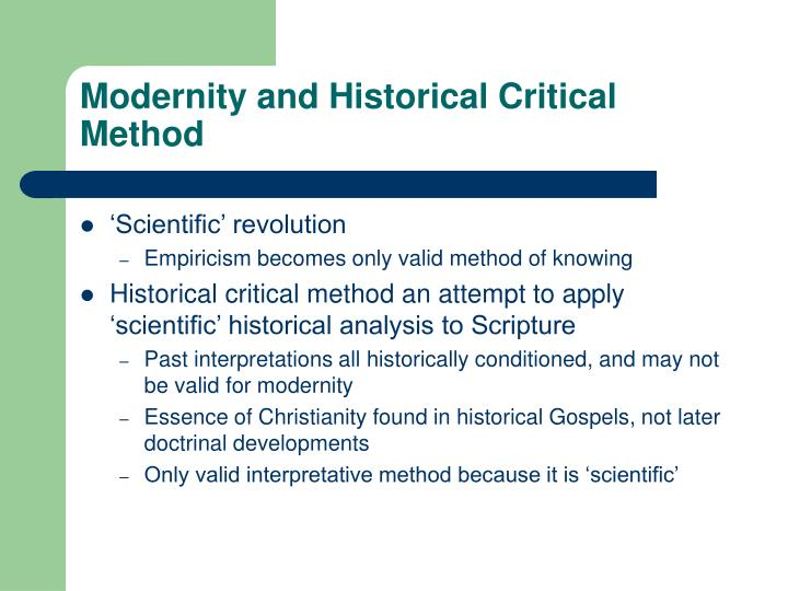 Modernity and Historical Critical Method