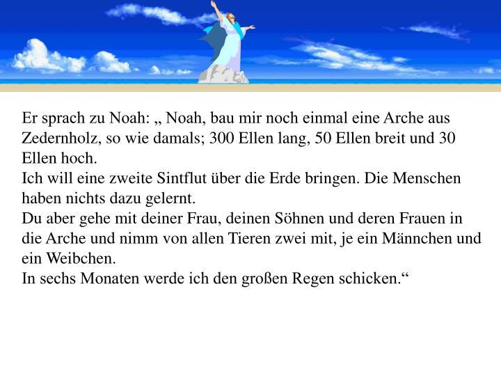 """Er sprach zu Noah: """" Noah, bau mir noch einmal eine Arche aus Zedernholz, so wie damals; 300 Ellen lang, 50 Ellen breit und 30 Ellen hoch."""
