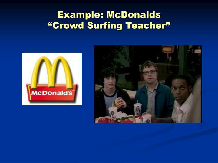Example: McDonalds