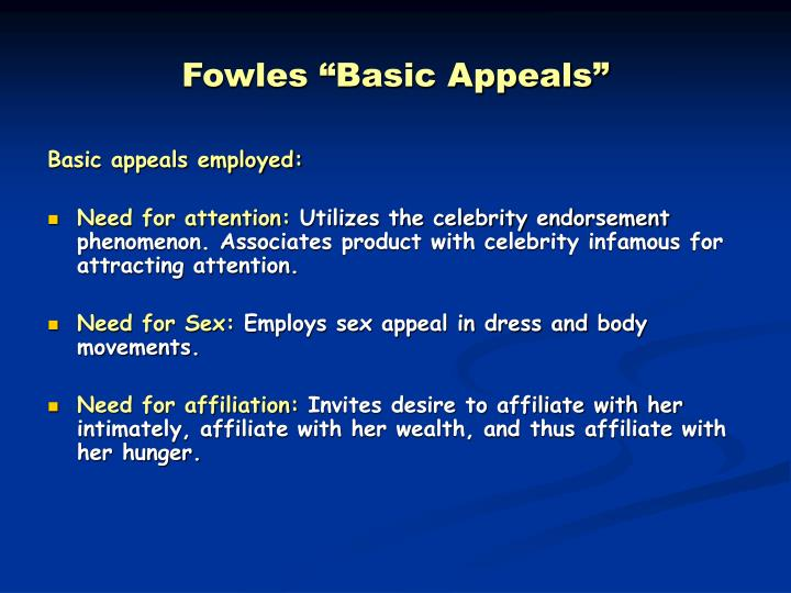 "Fowles ""Basic Appeals"""