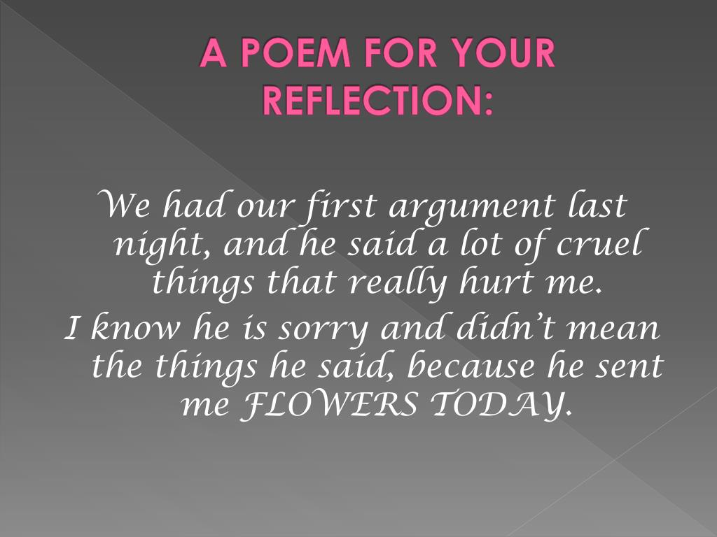 A POEM FOR YOUR REFLECTION: