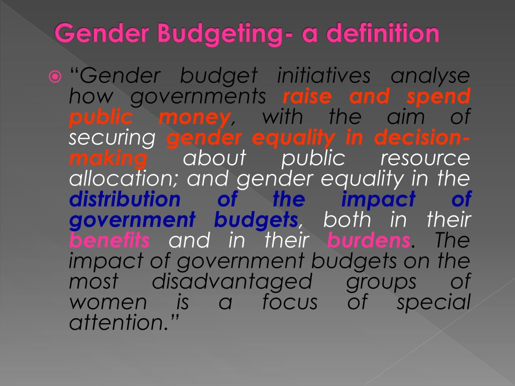 Gender Budgeting- a definition
