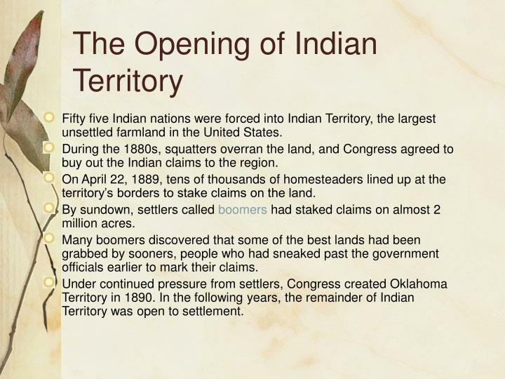 The Opening of Indian Territory