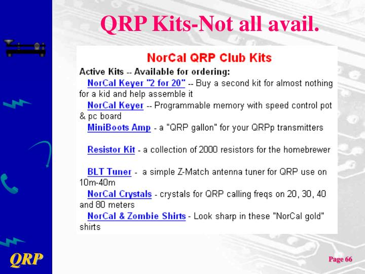 QRP Kits-Not all avail.
