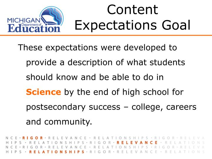 Content Expectations Goal