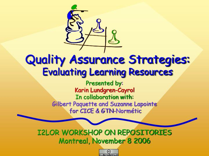 Quality assurance strategies evaluating learning resources