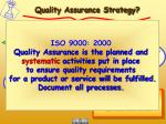 quality assurance strategy