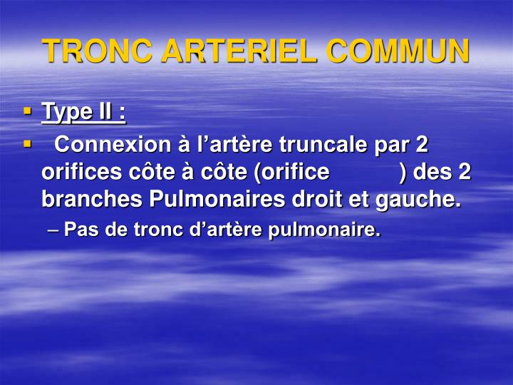 TRONC ARTERIEL COMMUN