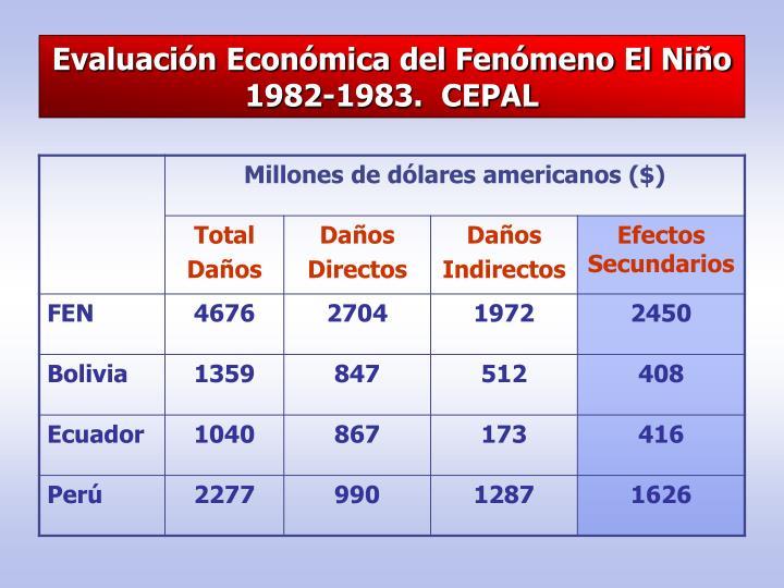 Evaluación Económica del Fenómeno El Niño 1982-1983.  CEPAL