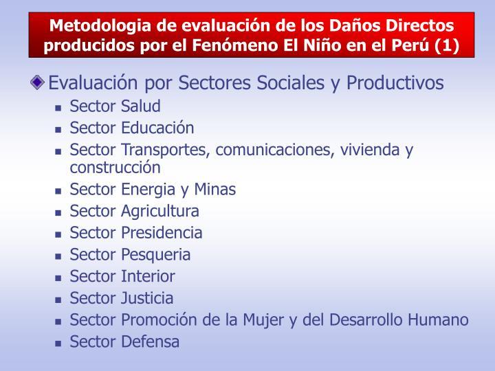 Metodologia de evaluación de los Daños Directos producidos por el Fenómeno El Niño en el Perú (1)